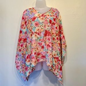 Floral Painted Shabby Chic Sheer Poncho
